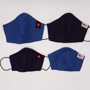 Blue Denim Non-medical Face Mask Covers with Red Maple Leaf or US Flag Stars + Strips Patch.  Reusable 100% Cotton Face Covers.