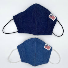 Load image into Gallery viewer, Light or Dark Blue Denim with Red Maple Leaf or US Flag Patch on Non-Medical Face Mask