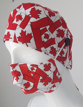 Load image into Gallery viewer, Canada Flag Scrub cap worn with matching Canada Flag Mask