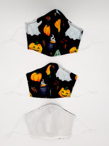 Our exclusive special collection of Halloween themed masks + a few other new prints by popular demand.  White colored back side of our reversible mask is a blank canvas to draw your own designs.  Nose Wire, Adjustable Ear loops, filter pocket between two layers of 100% cotton fabric.  Machine washable + dryable.