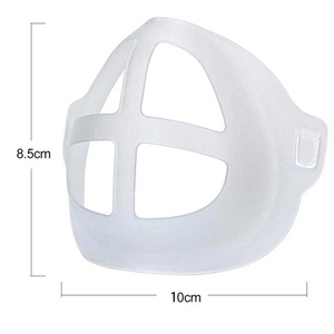 This 3D Mask Bracket or Mask Cage holds up the mask fabric around the mouth area creating an air gap space when mask is wore.  A possible solution to saving  Makeup – the gap created by the 3D bracket means the mask fabric is not smearing lipstick or makes less of a mess to makeup.   Use double-sided tape to fasten the 3D bracket onto the mask so it will keep in place better.  Made of Polypropylene soft plastic material.