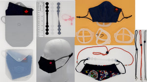 Face Mask Accessories for greater comfort + convenience when wearing face masks. Silicone Mask Pouch, Ear Savers, 3D Mask Bracket, Mask Cage, Lanyards.