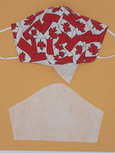 Load image into Gallery viewer, Print one side, solid color other side, reversible for versatility. Fashionable Face Covers that are functional, comfortable + Beautiful. If you have to wear a mask, wear one you LOVE! Designed + Made in Canada. Nose wire, adjustable ear loops, two layers of 100% cotton for comfort with integrate filter pocket between the two layer cotton layers.