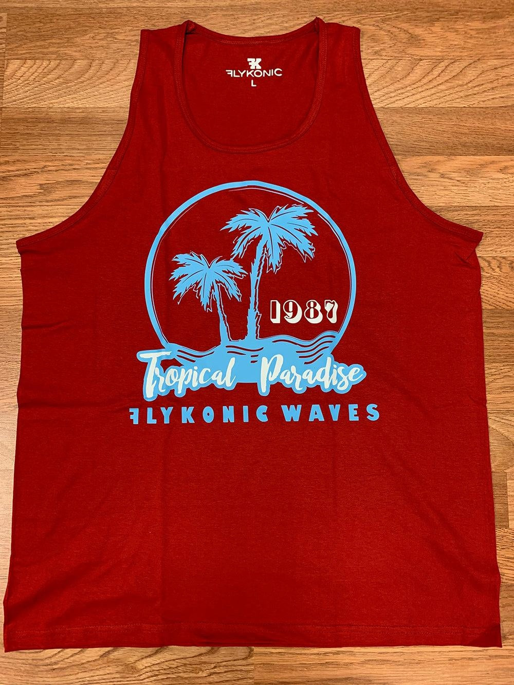 Flyknoic Waves Tropical Paradise Tank Top in Red