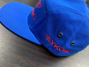 Flykonic Angel 5Panel Hat on Blue with Red Stitching