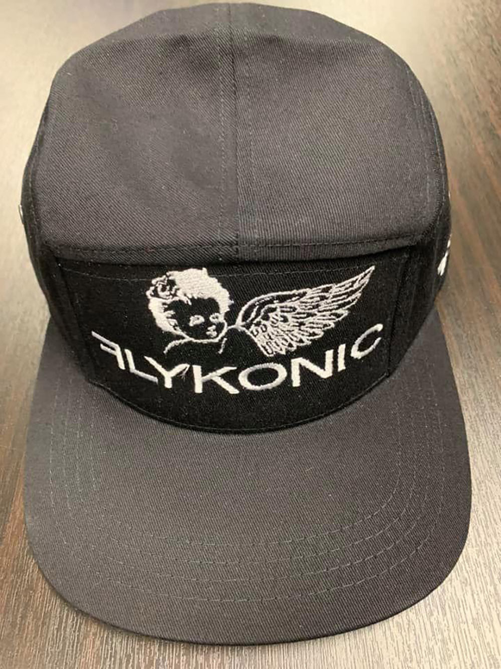 Flykonic Angel 5Panel Hat on black with White Stitching
