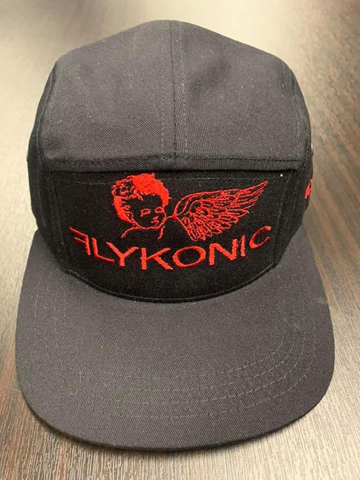 Flykonic Angel 5Panel Hat on black with Red Stitching