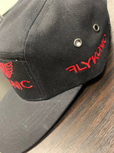 Load image into Gallery viewer, Flykonic Angel 5Panel Hat on black with Red Stitching