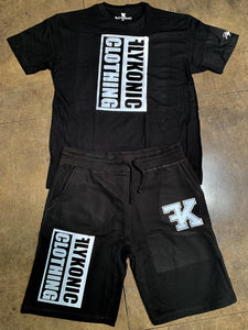 Flykonic Clothing Short Set - White on Black