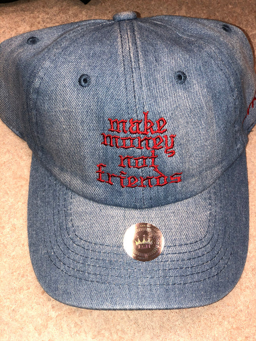 Flykonic Denim Make Money Not Friends Hat with Red stitching.
