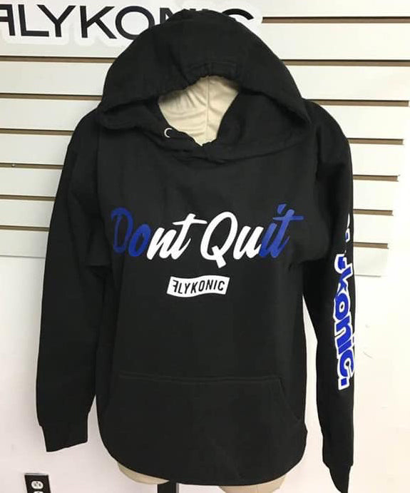 Flykonic Don't Quit Hoodie - Blue and White on Black