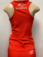 Load image into Gallery viewer, Flykonic Dreams Ladies Fitness Outfit in Red with embroidered logo and back screen printing.