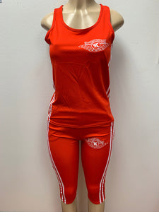 Flykonic Dreams Ladies Fitness Outfit in Red with embroidered logo and back screen printing.