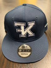 Load image into Gallery viewer, Flykonic FK Logo Snapback White Stitching on Navy