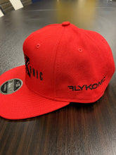 Load image into Gallery viewer, Flykonic FK Snapback on red hat with black stitching
