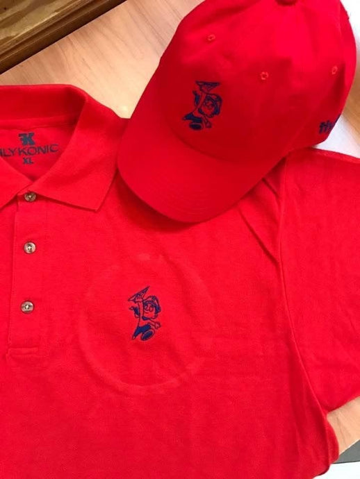 Flykonic Flyboy Polo and Dad Hat on Red