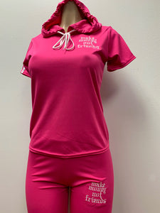 Flykonic Ladies Fitness Pink Hoodie Outfit