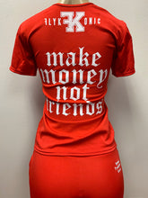 "Load image into Gallery viewer, Flykonic Ladies Red Fitness Outfit with Flykonic logo branding and ""Make Money Not Friends printing and embrodery."