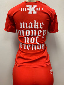 "Flykonic Ladies Red Fitness Outfit with Flykonic logo branding and ""Make Money Not Friends printing and embrodery."