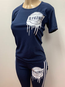 Flykonic Ladies Fitness - Manufactured Goods Drip Outfit  in blue with white print.