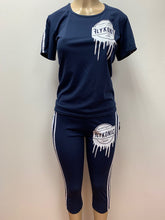 Load image into Gallery viewer, Flykonic Ladies Fitness - Manufactured Goods Drip Outfit  in blue with white print.