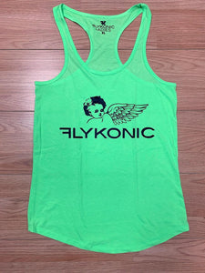 Flykonic Ladies Angel Tank, Lime Green and black print.