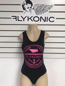 Flykonic Ladies Yacht Club Bathing Suit in Pink on Black