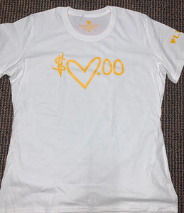 Flykonic Ladies Heart Money - yellow on white