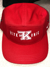 Load image into Gallery viewer, Flykonic Logo 5Panel Hat on Red with White Stitching
