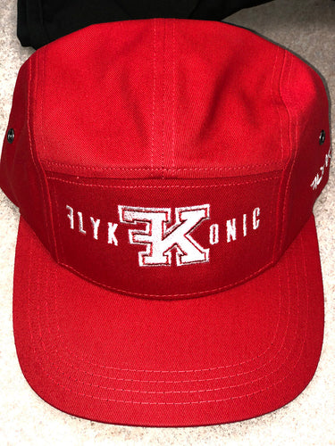 Flykonic Logo 5Panel Hat on Red with White Stitching