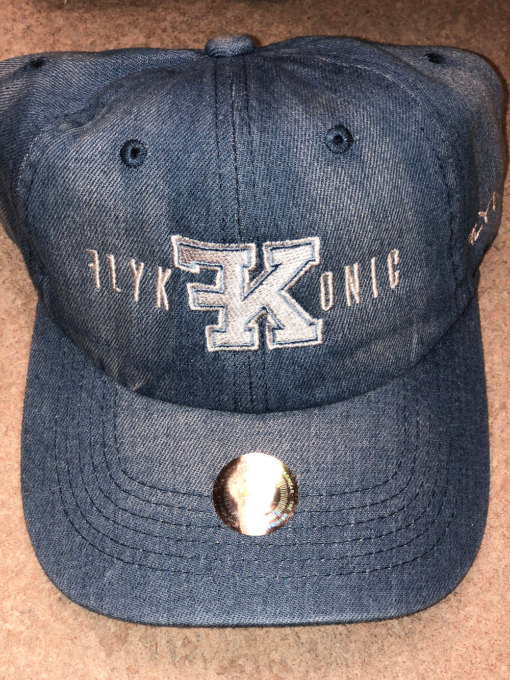 Flykonic Logo Denim Hat with White Stitching