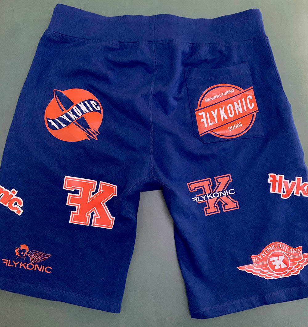 Flykonic Logo Shorts in Blue and Orange