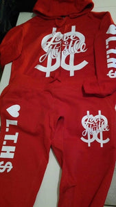 Flykonic Love To Hustle outfit on red