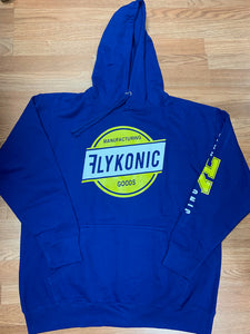 Flykonic Manufactured Goods Hoodie -Blue with White and Yellow Print