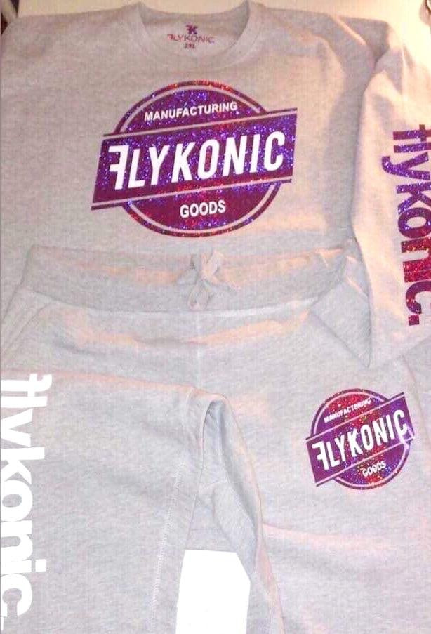 Flykonic Goods Outfit - Purple Glitter and White on Grey