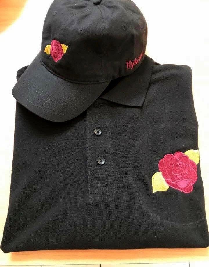 Flykonic Rose Polo and Dad Hat Black, Maroon and gold