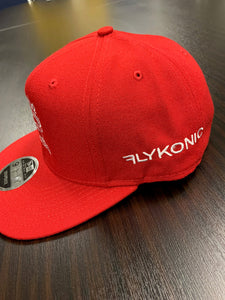Flykonic Snapback Make Money Not Friends stitching in white on Red hat.