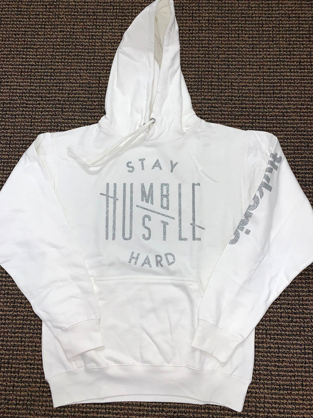 Flykonic Stay Humble Hustle Hard Hoodie - Silver on White