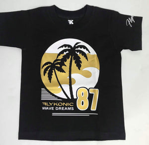 Flykonic Wave Dreams in Gold and White on Black Tee