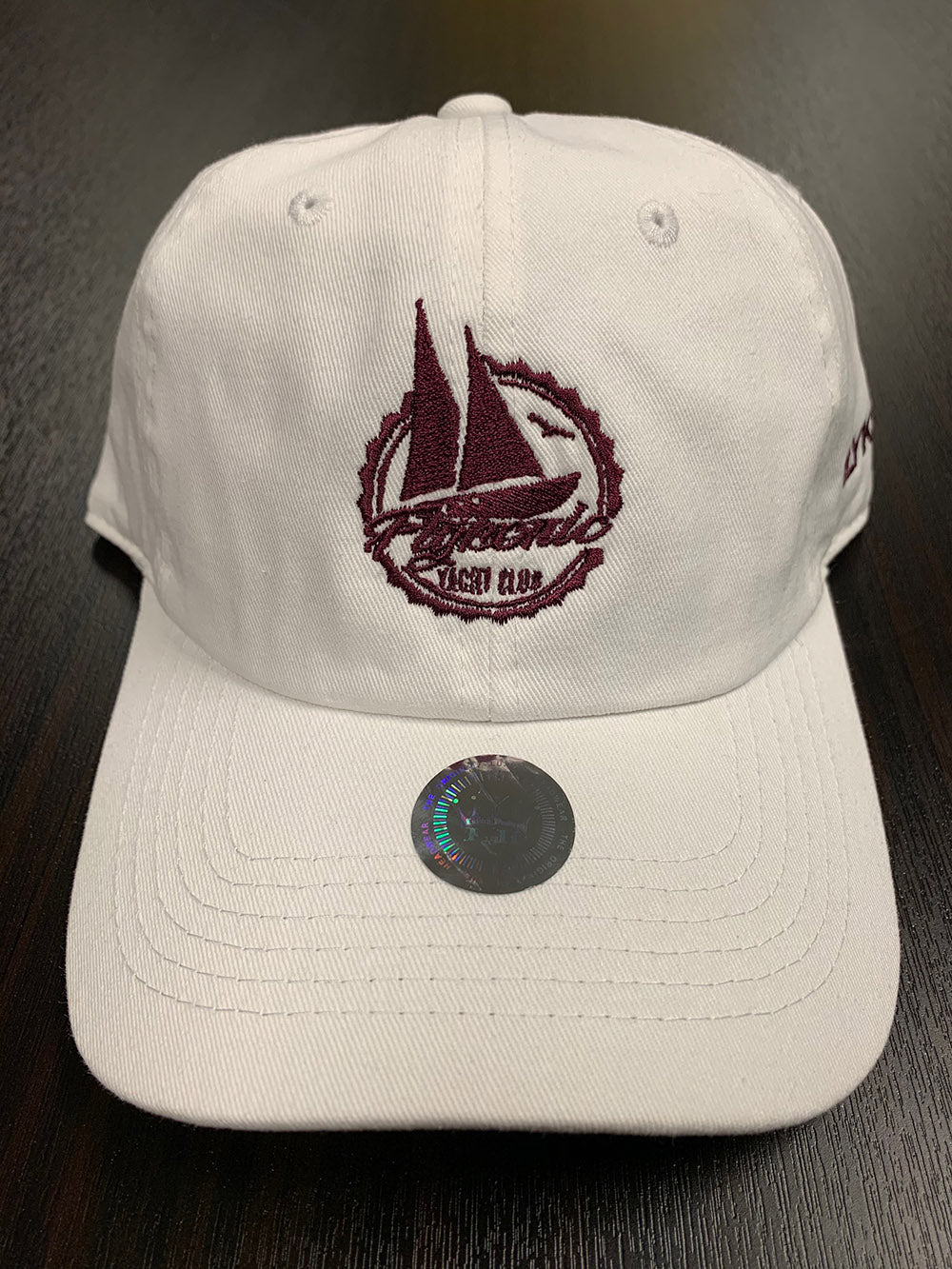 Flykonic Yacht Club Dad Hat on White Maroon Stitching