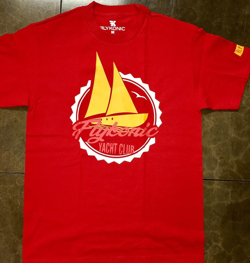 Flykonic Yacht Club Tee on red tee