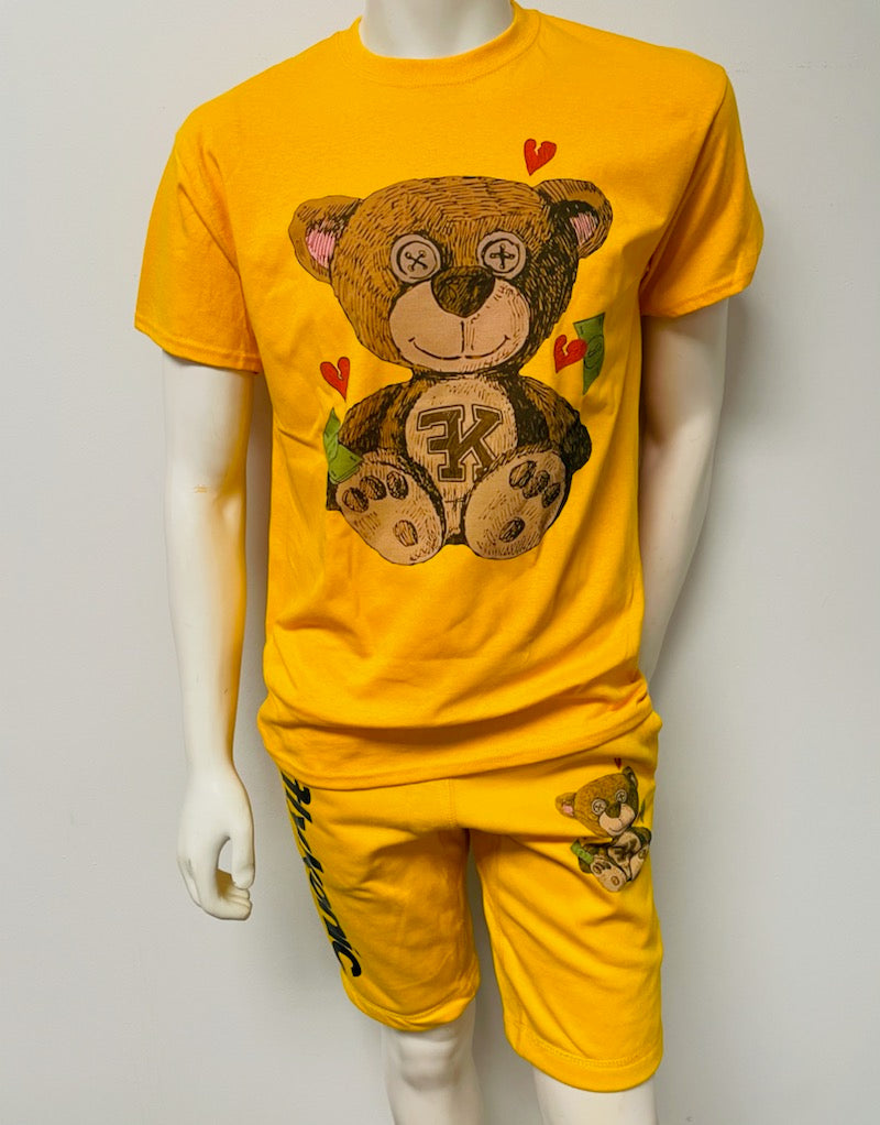 Yellow Flykonic Love Bear Shortset