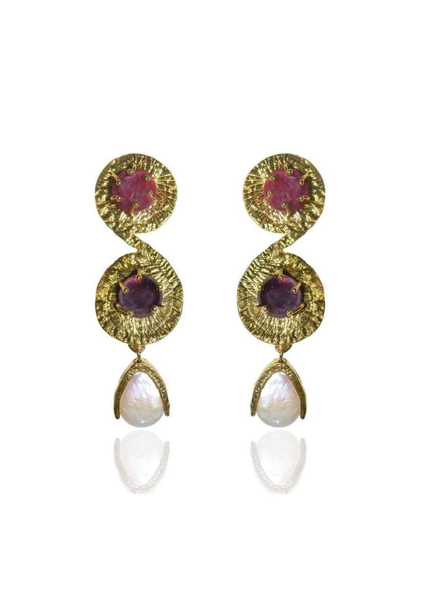 CAMILLE - STATEMENT BRIDAL EARRINGS - GOLD