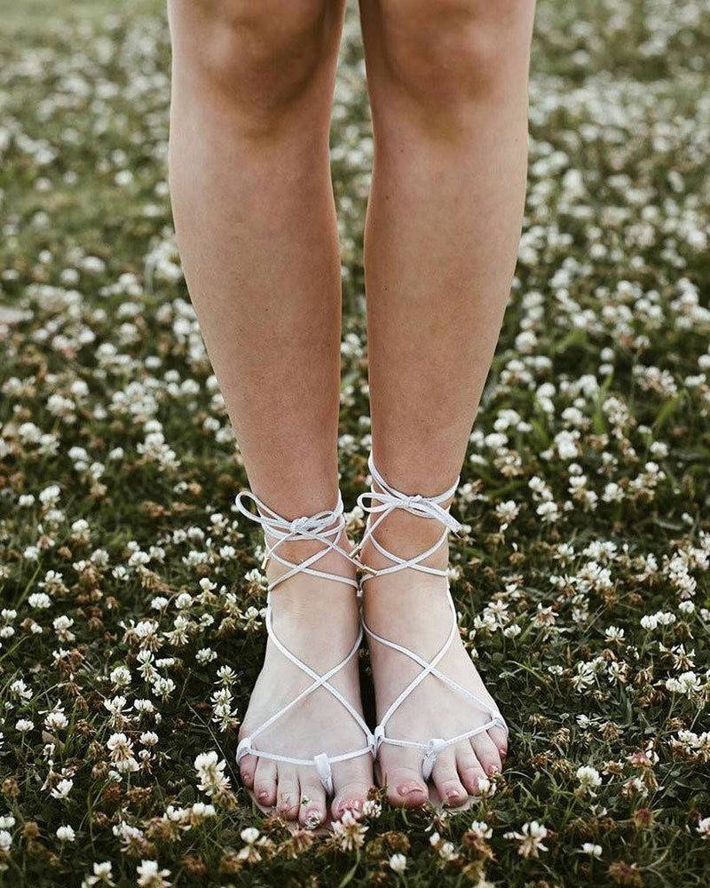 OUR WORLD FLAT SANDALS - WHITE