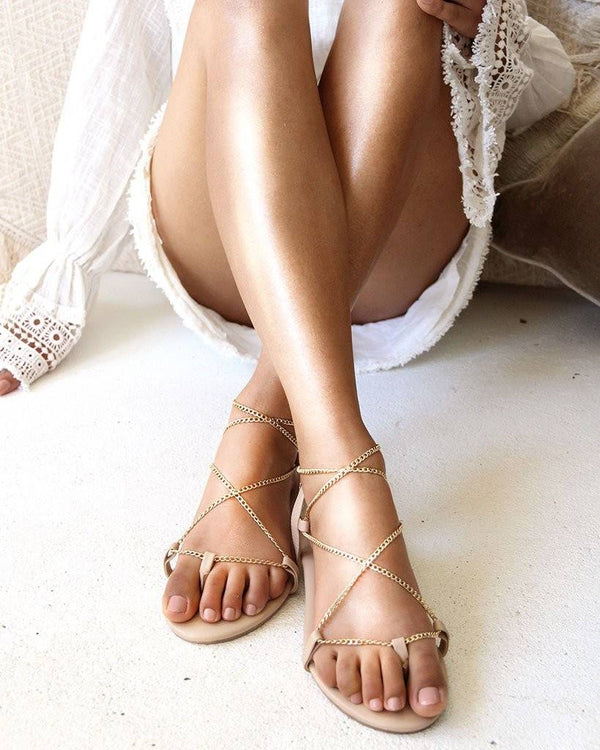 GOLD CHAIN FLAT SANDALS