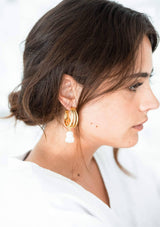 FLORENCE - PEARL STATEMENT WEDDING EARRINGS - GOLD