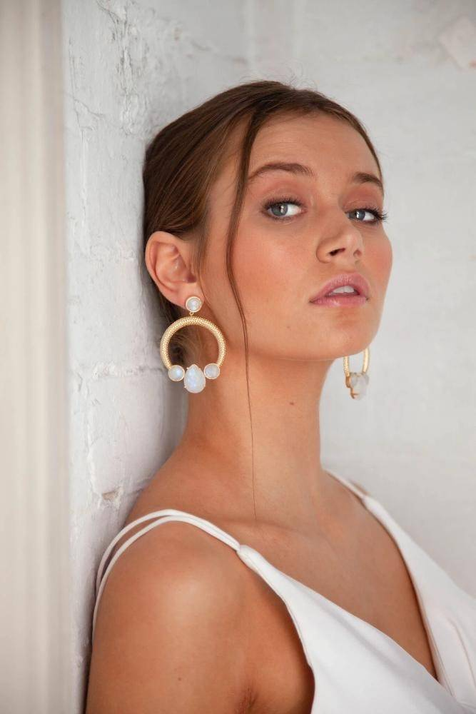 AMELIA - STATEMENT BRIDAL EARRINGS - GOLD