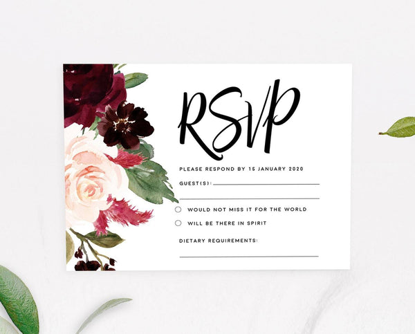 Marsala Floral RSVP Card Printable Template