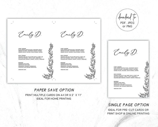 Modern Minimal Wedding Menu Printable Template
