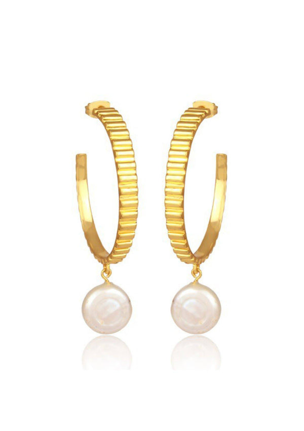 GIGI - PEARL HOOP BRIDAL EARRINGS - GOLD
